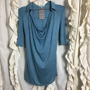 NWT Bordeaux Draped Heathered Blue Ribbed Top